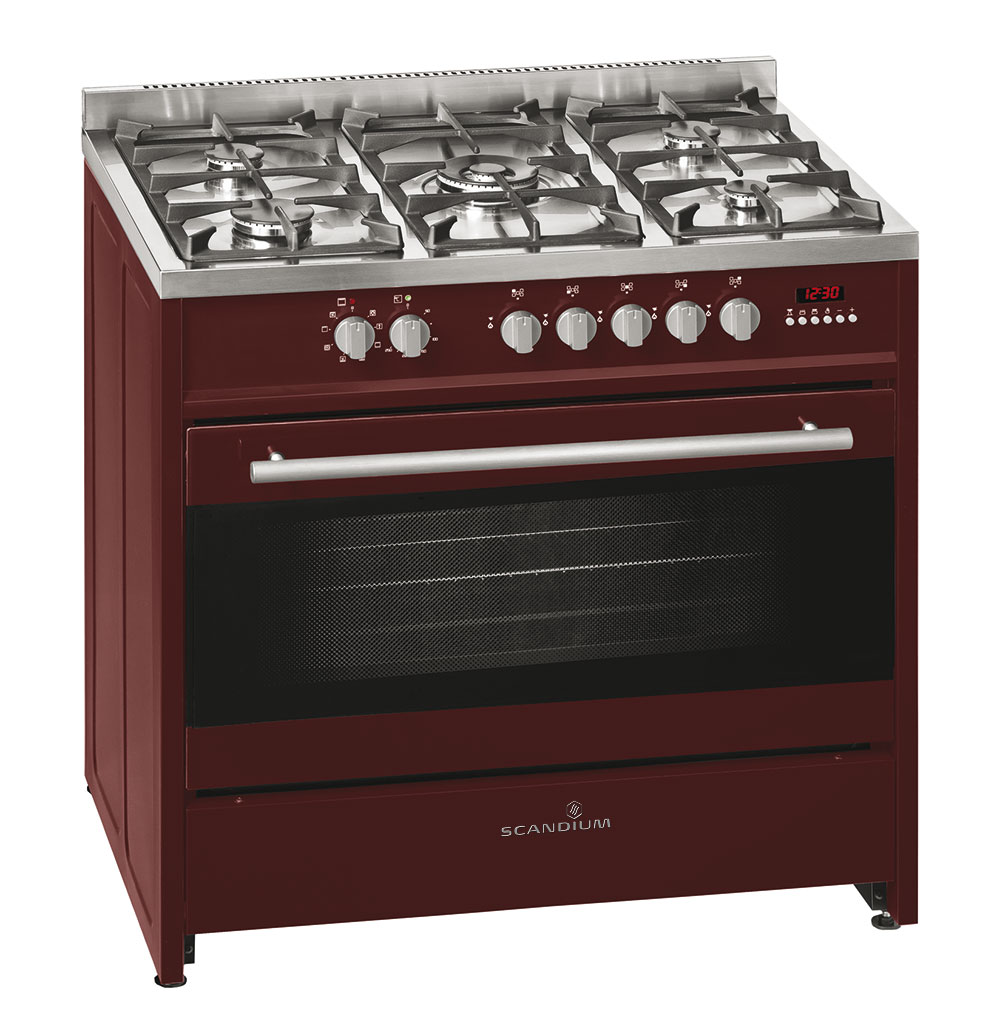 Burgundy Upright Cooker Gas-Electric 90cm