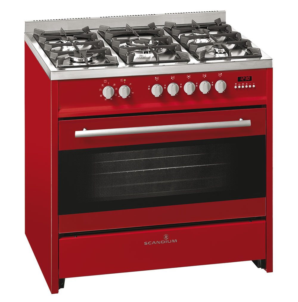Red Upright Cooker Gas-Electric 90cm