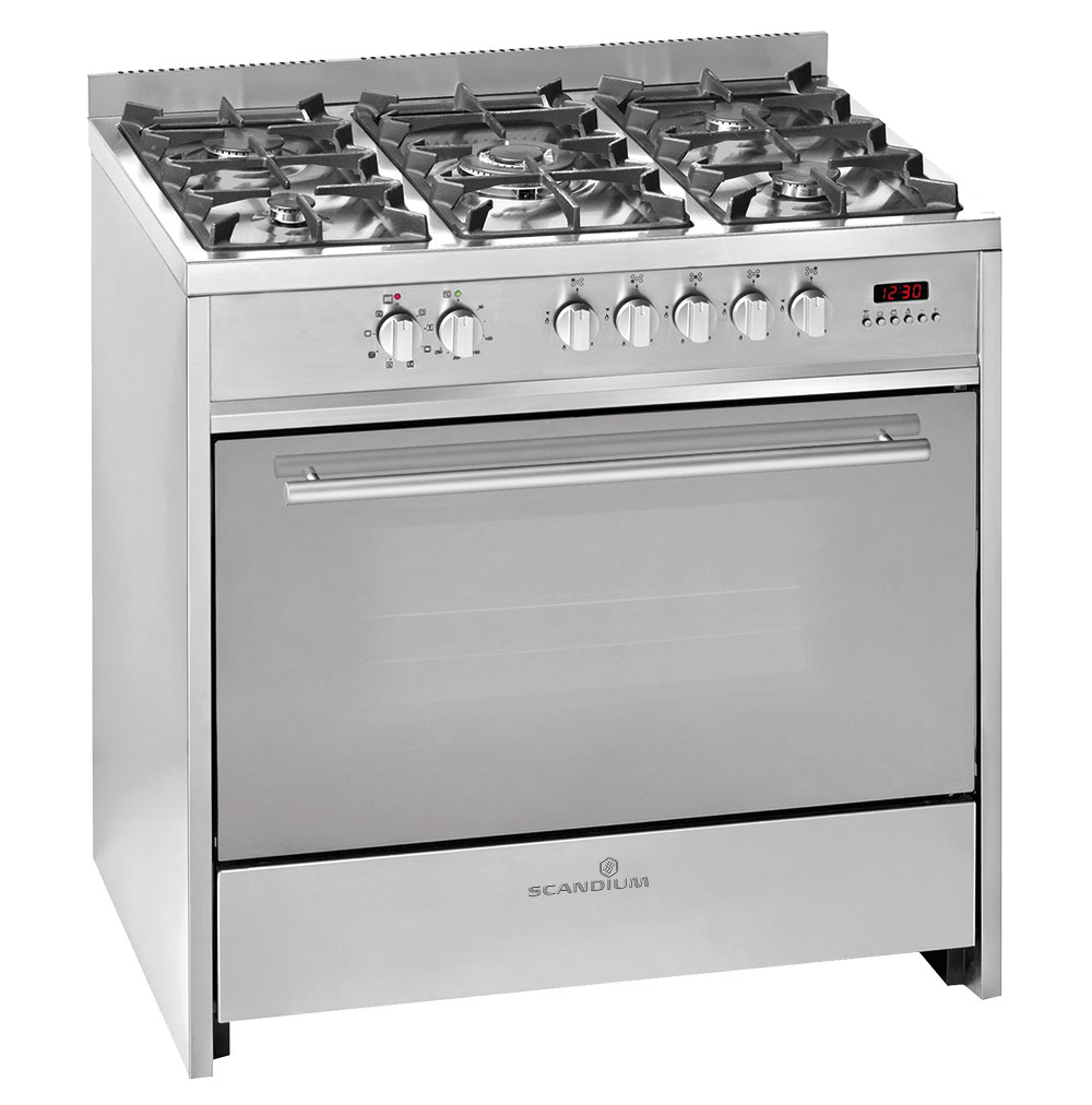 Silver Upright Cooker Gas-Electric 90cm
