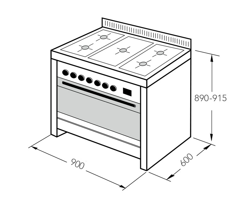 Light Blue Upright Cooker Gas-Electric 90cm