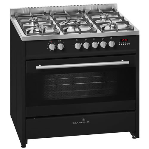 Black Upright Cooker Gas-Electric 90cm